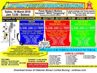 Brosur Latpres Burung Berkicau Rasyid Enterprise, Tangerang, 19 Maret 2016