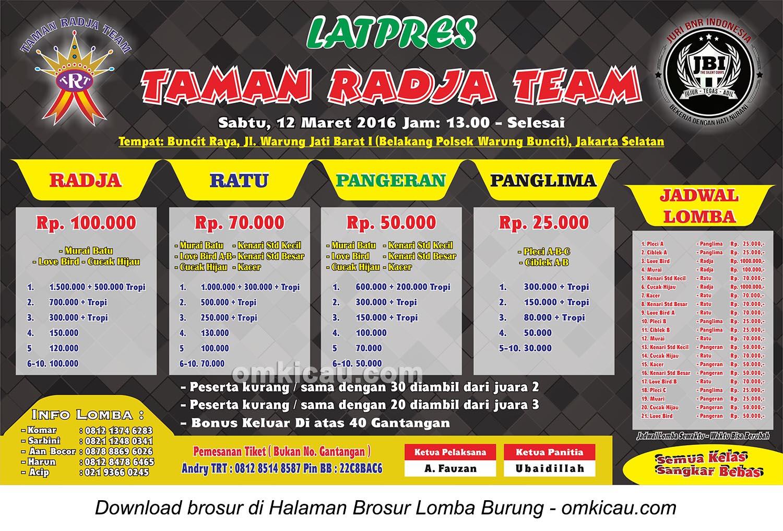 Brosur Latpres Burung Berkicau Taman Radja Team, Jakarta Selatan, 12 Maret 2016