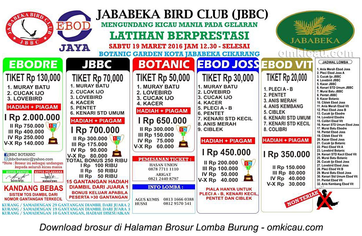 Brosur Latpres Jababeka Bird Club, Cikarang, 19 Maret 2016