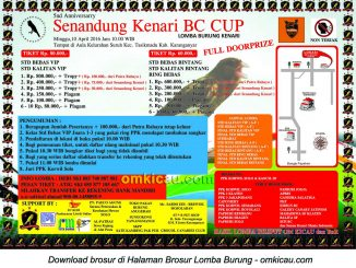 Brosur Lomba Burung 5nd Anniversary Senandung Kenari BC Cup, Karanganyar, 10 April 2016