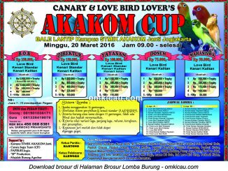 Brosur Lomba Burung Berkicau Akakom Cup, Jogja, 20 Maret 2016
