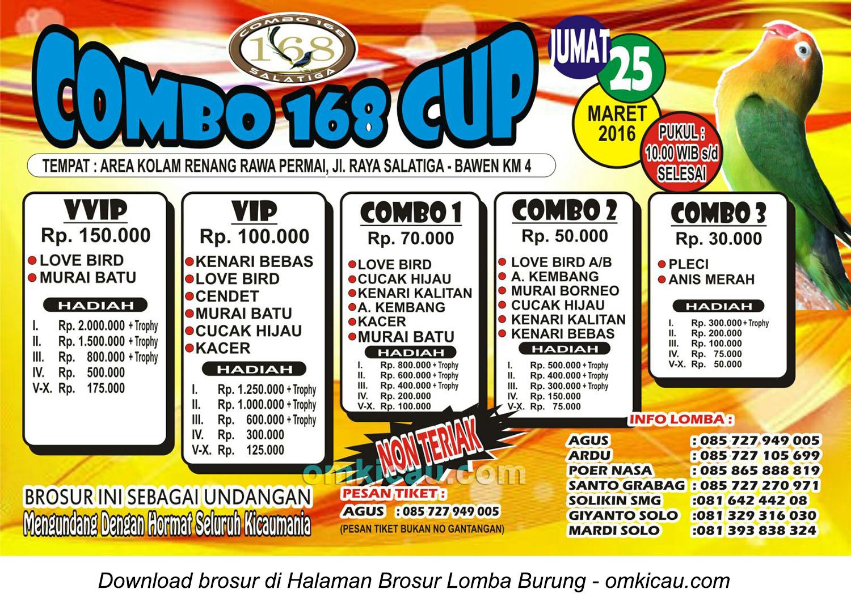 Brosur Lomba Burung Berkicau Combo 168 Cup, Bawen, 25 Maret 2016