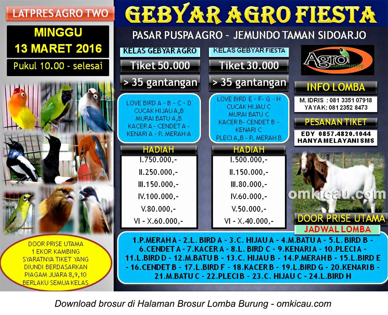 Brosur Lomba Burung Berkicau Gebyar Agro Fiesta, Sidoarjo, 13 Maret 2016