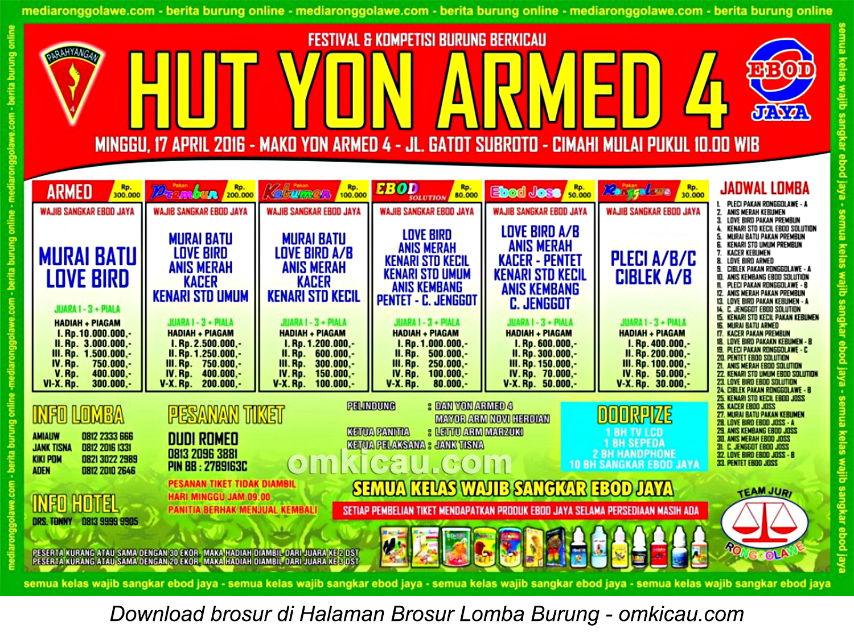 Brosur Lomba Burung Berkicau HUT Yon Armed 4, Cimahi, 17 April 2016