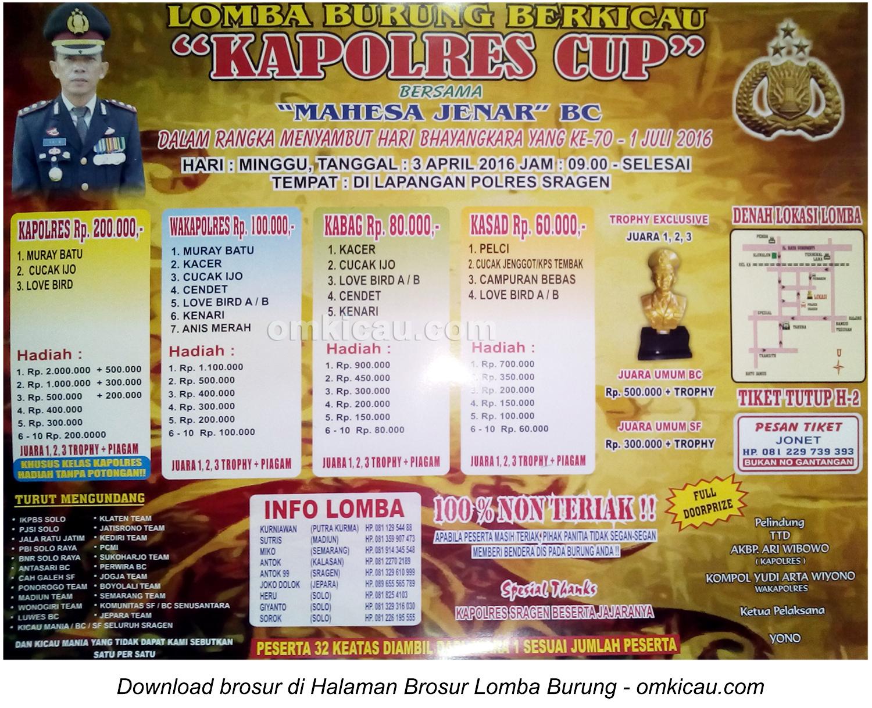 Brosur Lomba Burung Berkicau Kapolres Cup Sragen, 3 April 2016