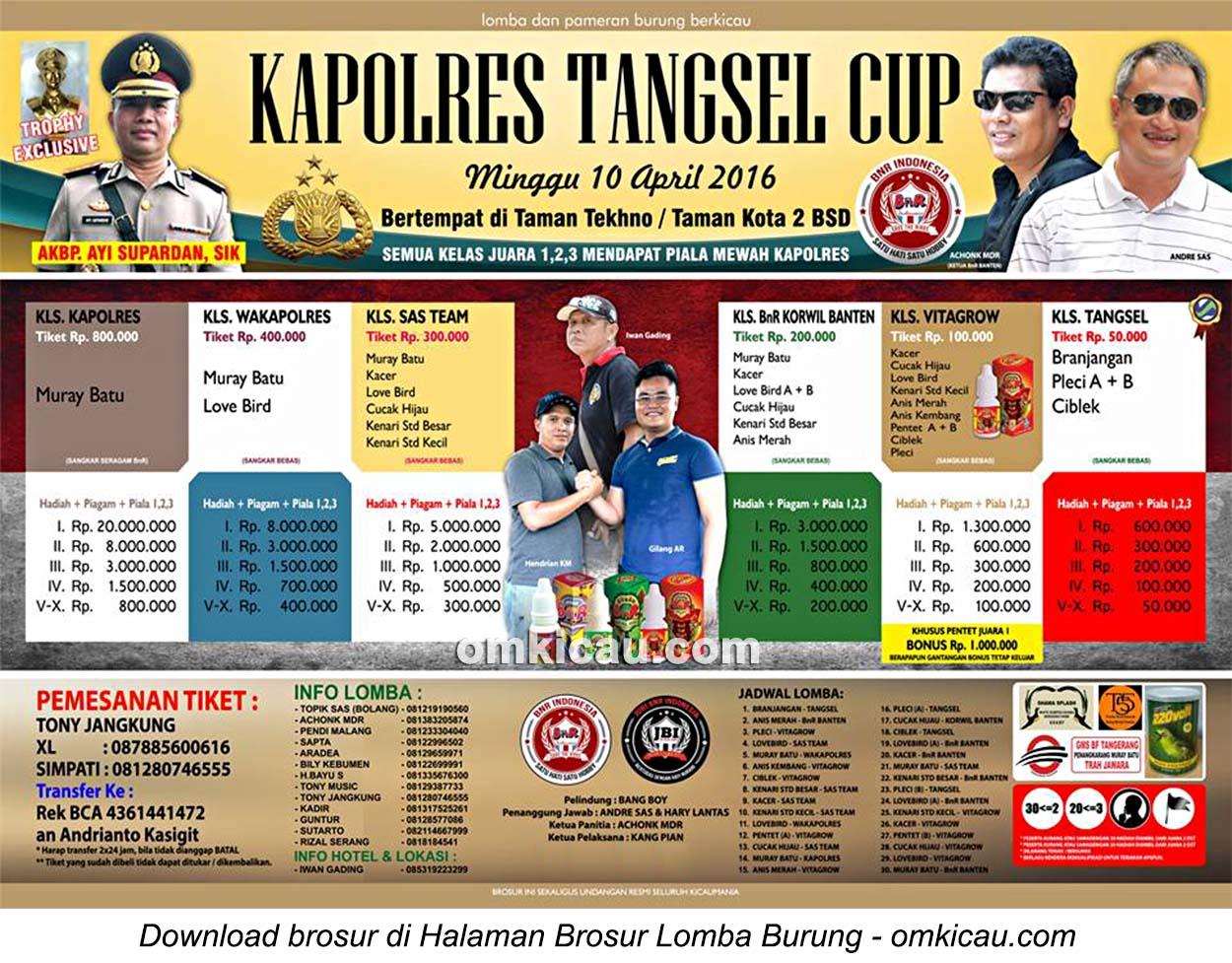 Brosur Lomba Burung Berkicau Kapolres Tangsel Cup, BSD, 10 April 2016