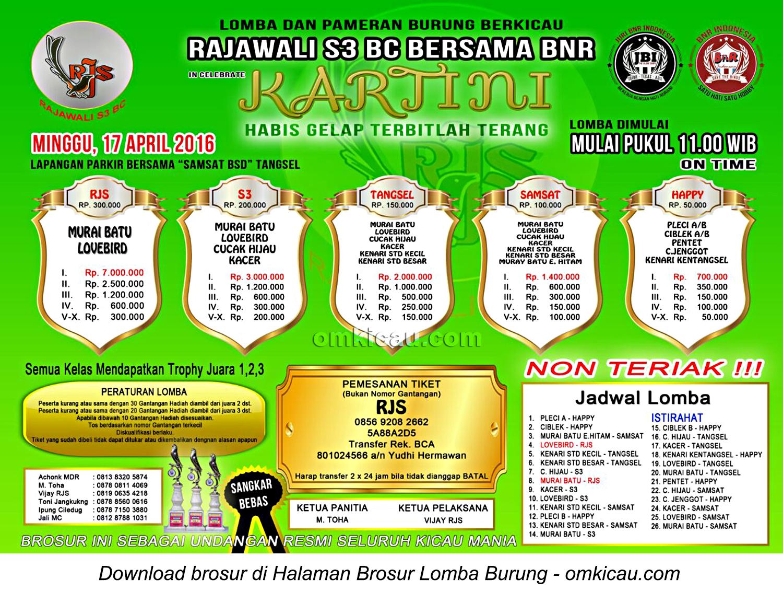 Brosur Lomba Burung Berkicau Kartini - Rajawali S3 Bersama BnR, Tangsel, 17 April 2016