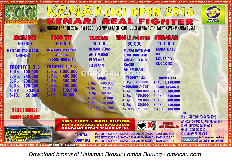 Brosur Lomba Burung Berkicau Kenarcici Open, Jakarta Pusat, 17 April 2016