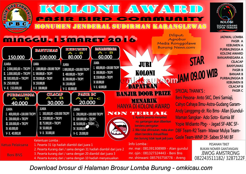 Brosur Lomba Burung Berkicau Koloni Award, Purwokerto, 13 Maret 2016