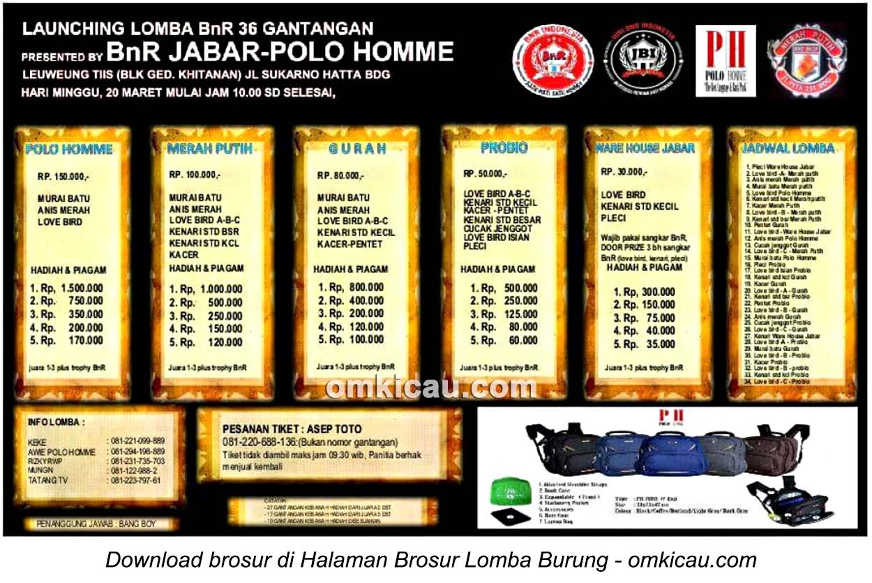 Brosur Lomba Burung Berkicau Launching BnR 36 Gantangan, Bandung, 20 Maret 2016