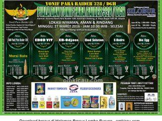 Brosur Lomba Burung Berkicau Piala Dan Yonif Para Raider 328-DGH, Depok, 27 Maret 2016