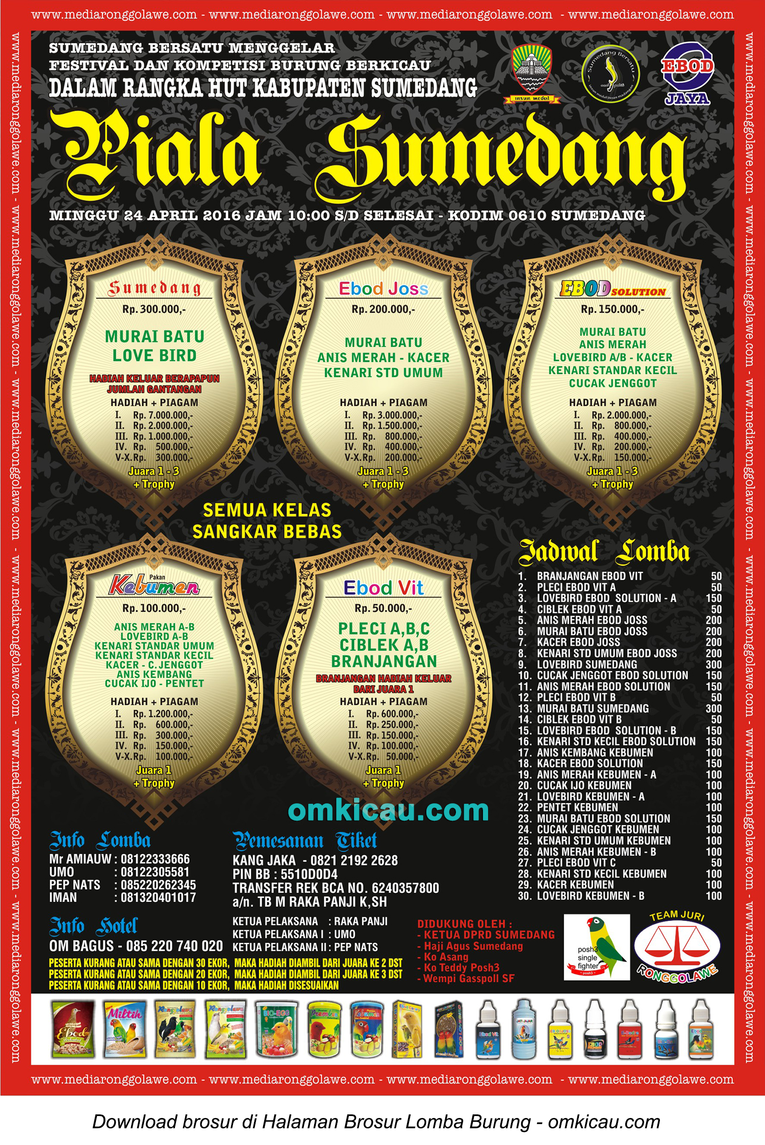 Brosur Lomba Burung Berkicau Piala Sumedang, 24 April 2016