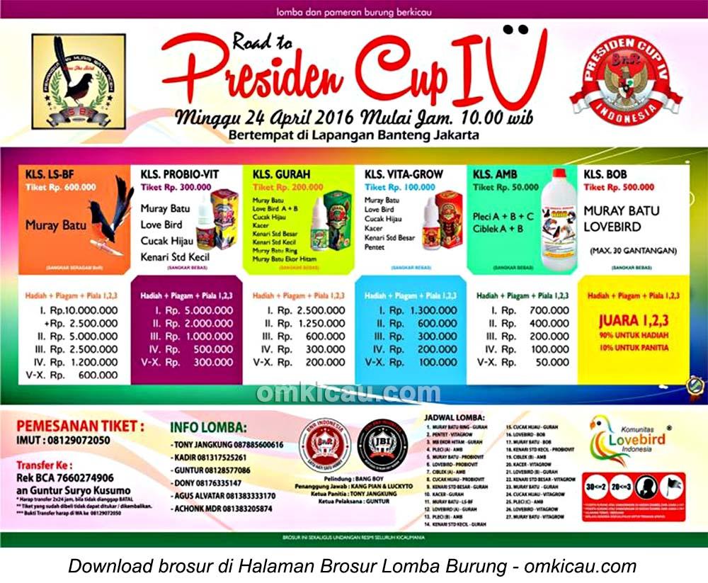 Brosur Lomba Burung Berkicau Road to Presiden Cup IV, Jakarta, 24 April 2016