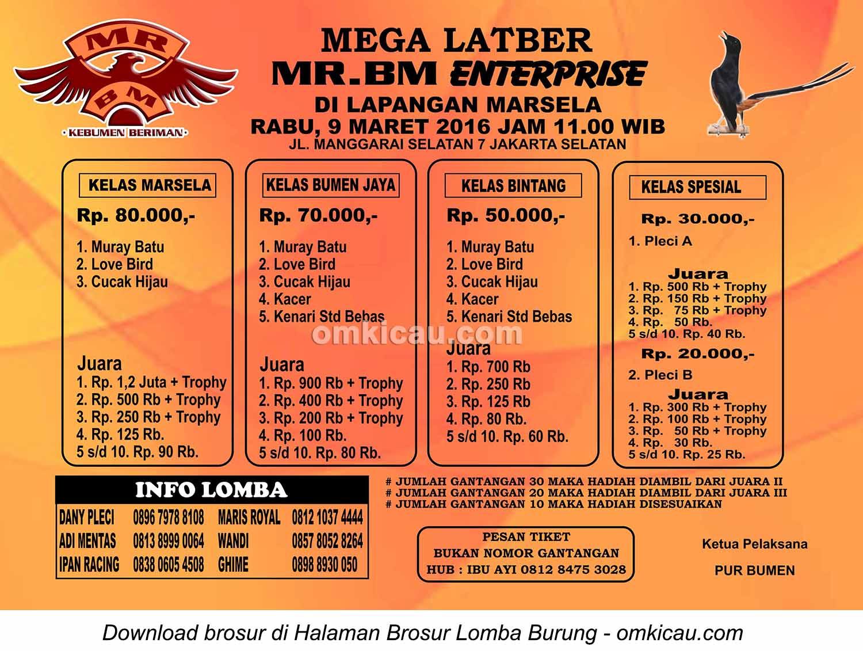 Brosur Mega Latber Mr BM Enterprise, Jakarta Selatan, 9 Maret 2016