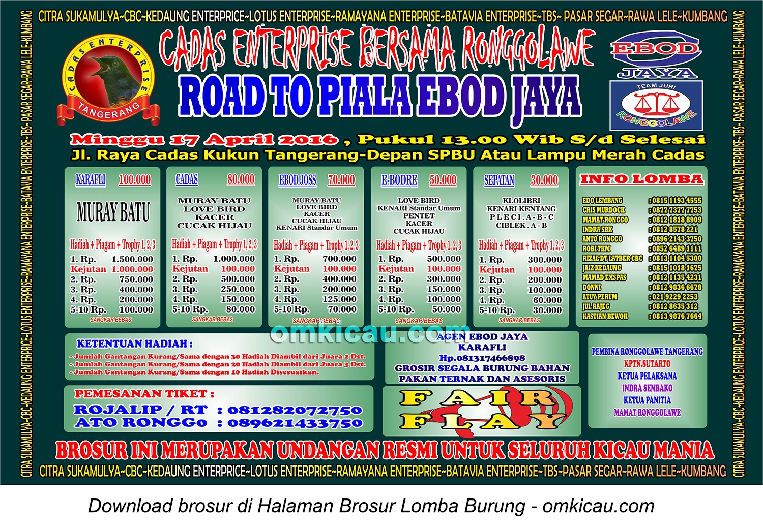 Brosur Road to Piala Ebod Jaya - Cadas Enterprise, Tangerang, 17 April 2016