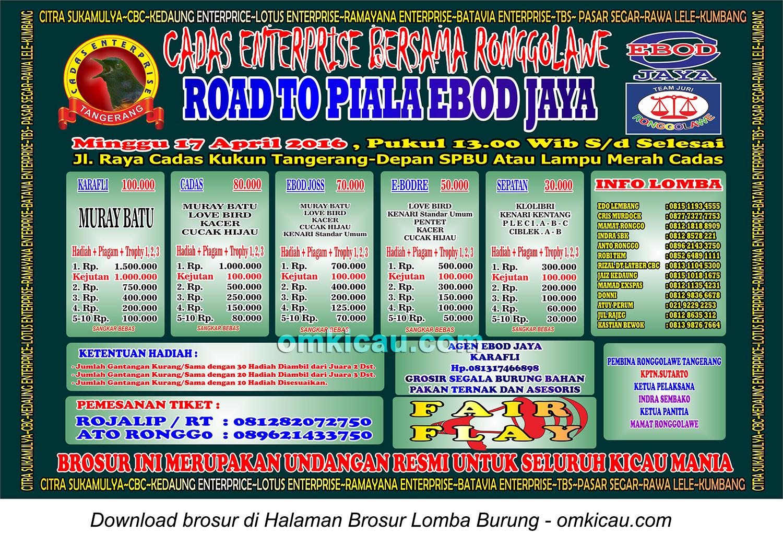 Brosur Road to Piala Ebod Jaya - Cadas Enterprise, Tangerang, 17 April 2016