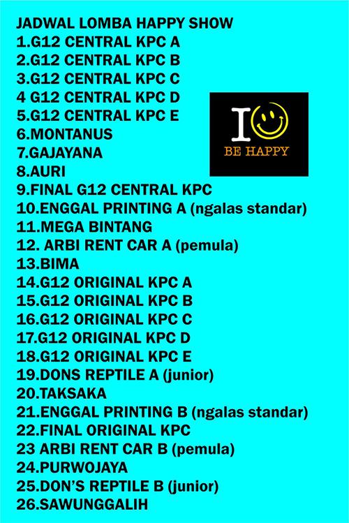 Jadwal kontes pleci KPC Happy Show