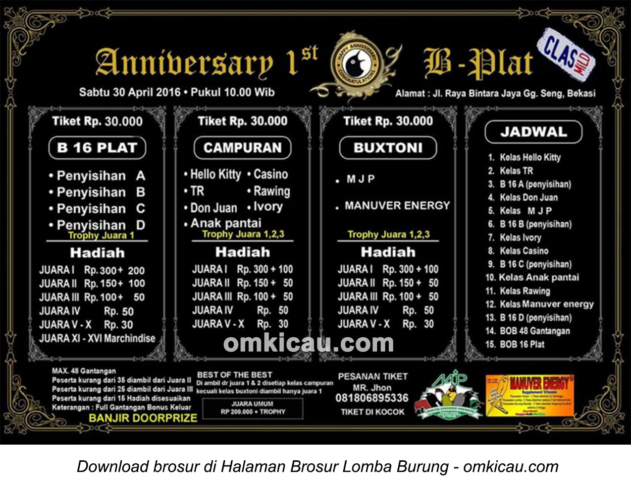 Brosur Kontes Pleci 1st Anniversary B-Plat, Bekasi, 30 April 2016