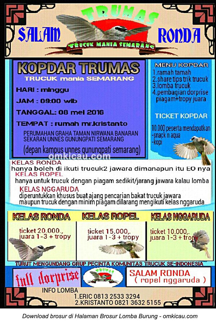 Brosur Kopdar Trumas - Trucukan Mania Semarang, 8 Mei 2016