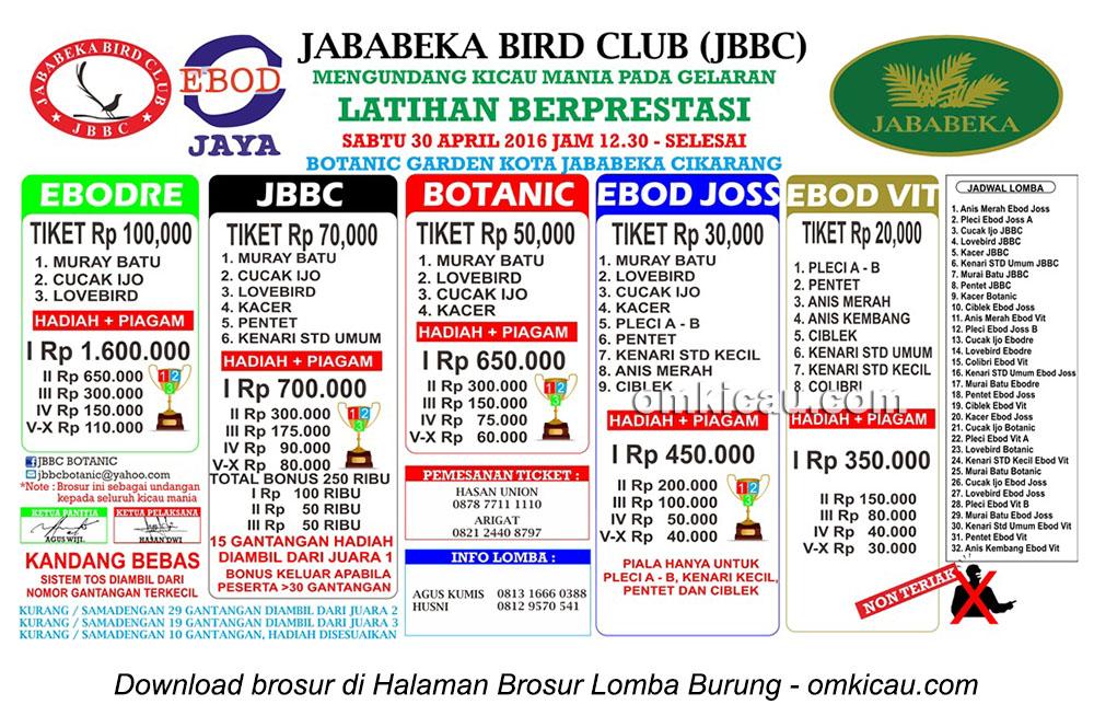 Brosur Latihan Berprestasi Jababeka Bird Club, Cikarang, 30 April 2016