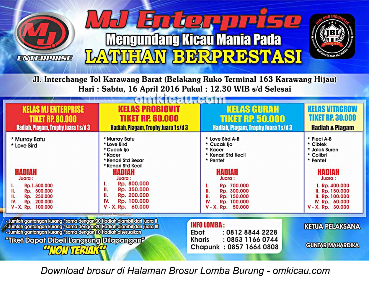 Brosur Latihan Berprestasi MJ Enterprise, Karawang, 16 April 2016