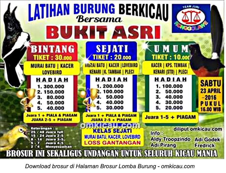 Brosur Latihan Burung Berkicau Bersama Bukit Asri, Jambi, 23 April 2016
