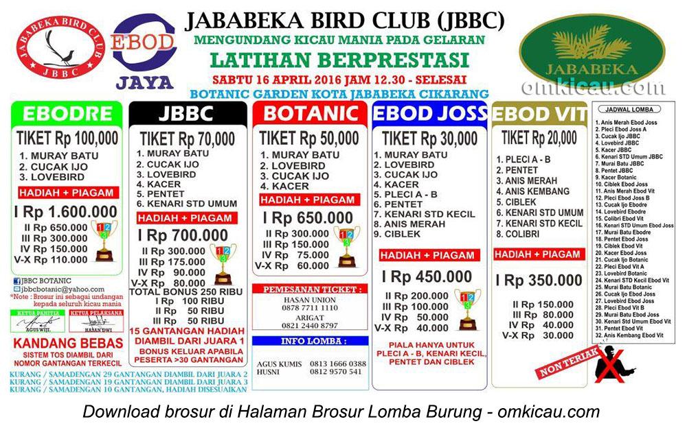 Brosur Latpres Burung Berkicau Jababeka Bird Club, Cikarang, 16 April 2016