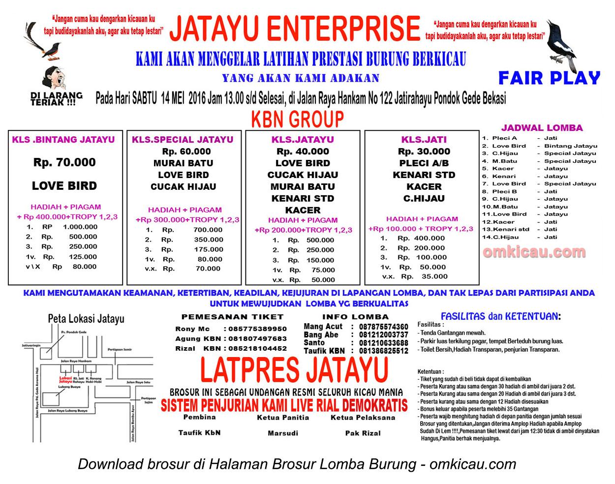 Brosur Latpres Burung Berkicau Jatayu Enterprise, Bekasi, 14 Mei 2016