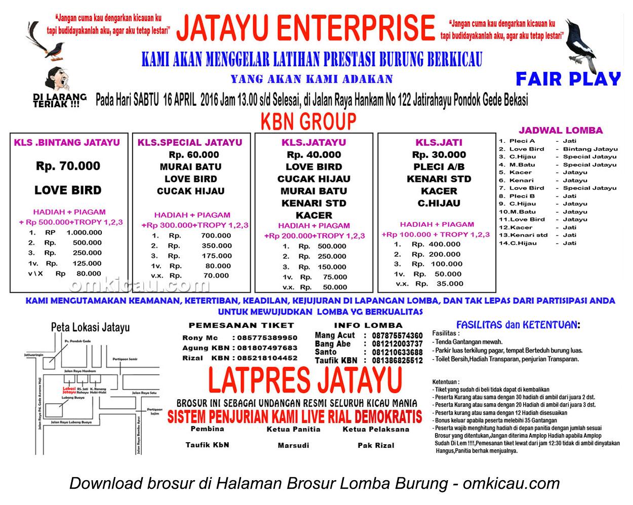 Brosur Latpres Burung Berkicau Jatayu Enterprise, Bekasi, 16 April 2016