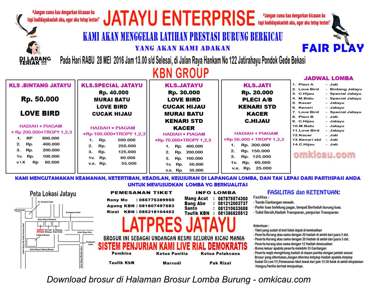 Brosur Latpres Burung Berkicau Jatayu Enterprise, Bekasi, 28 Mei 2016