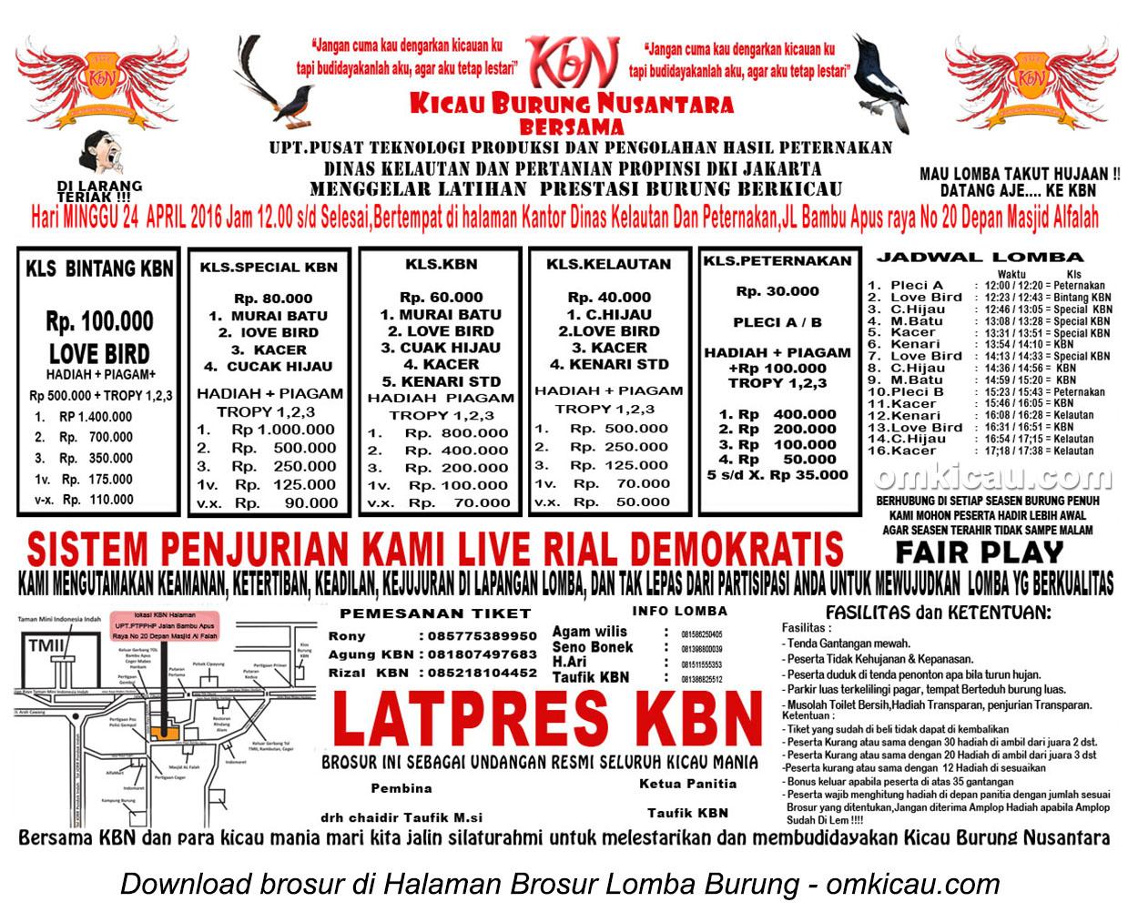 Brosur Latpres Burung Berkicau KBN, Jakarta Timur, 24 April 2016