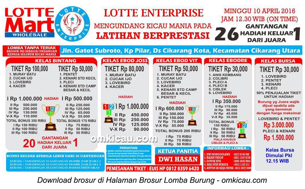 Brosur Latpres Burung Berkicau Lotte Enterprise, Cikarang, 10 April 2016