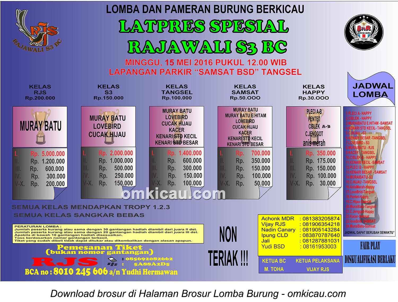 Brosur Latpres Special Rajawali S3 BC, Tangerang Selatan, 15 Mei 2016