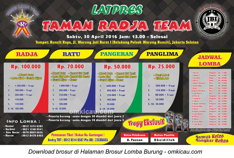 Brosur Latpres Taman Radja Team, Jakarta Selatan, 30 April 2016