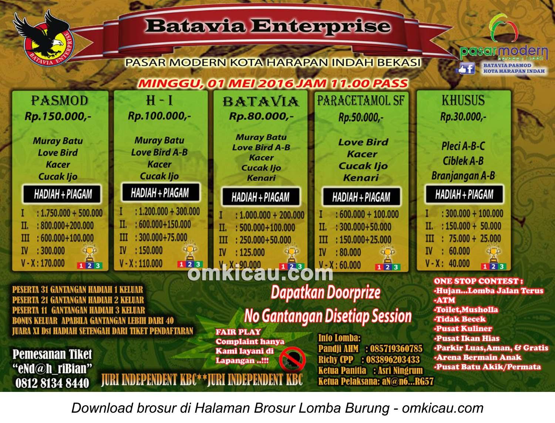 Brosur Lomba Burung Berkicau Batavia Enterprise, Bekasi, Minggu 1 Mei 2016