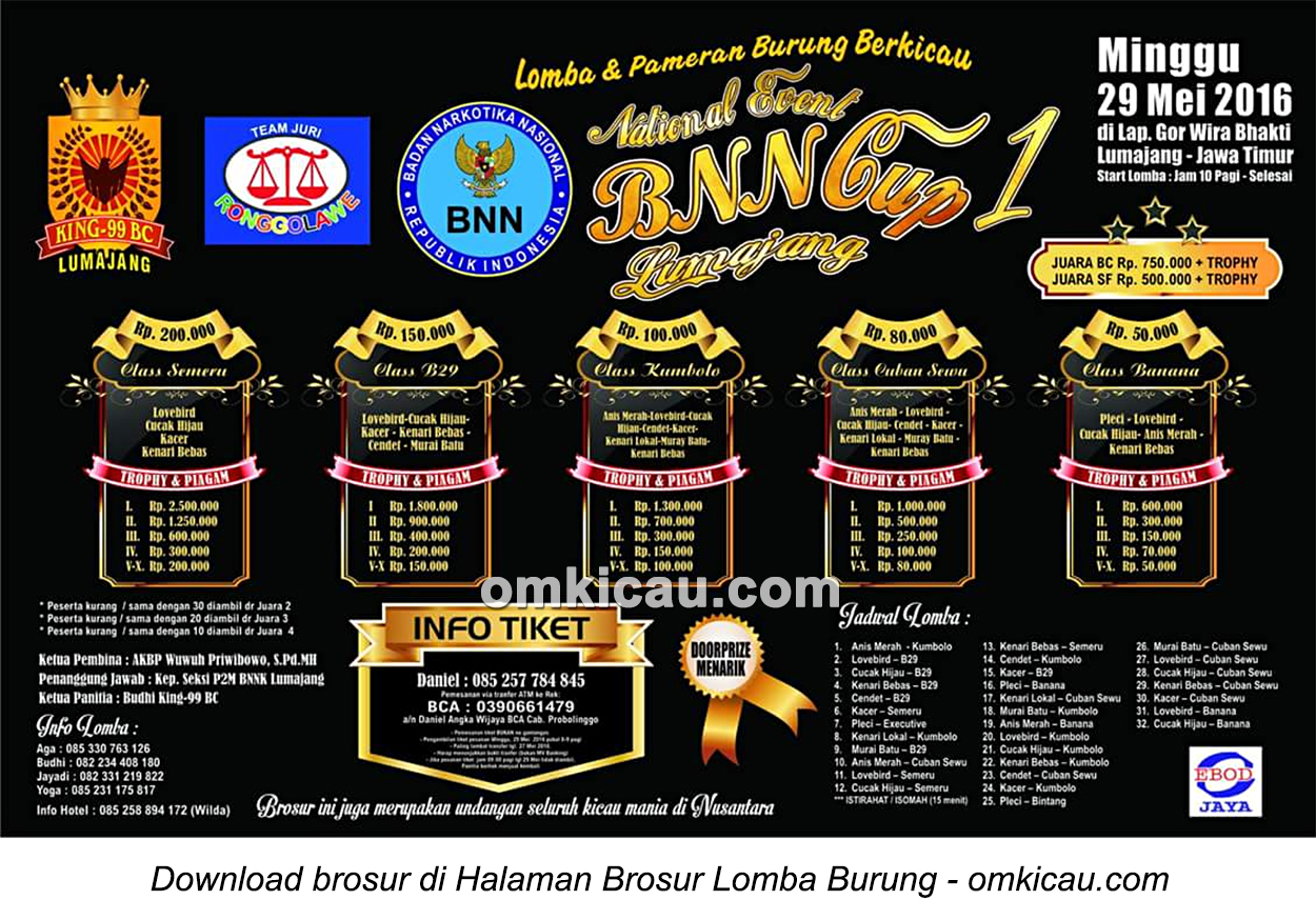 Brosur Lomba Burung Berkicau BNN Cup 1, Lumajang, 29 Mei 2016