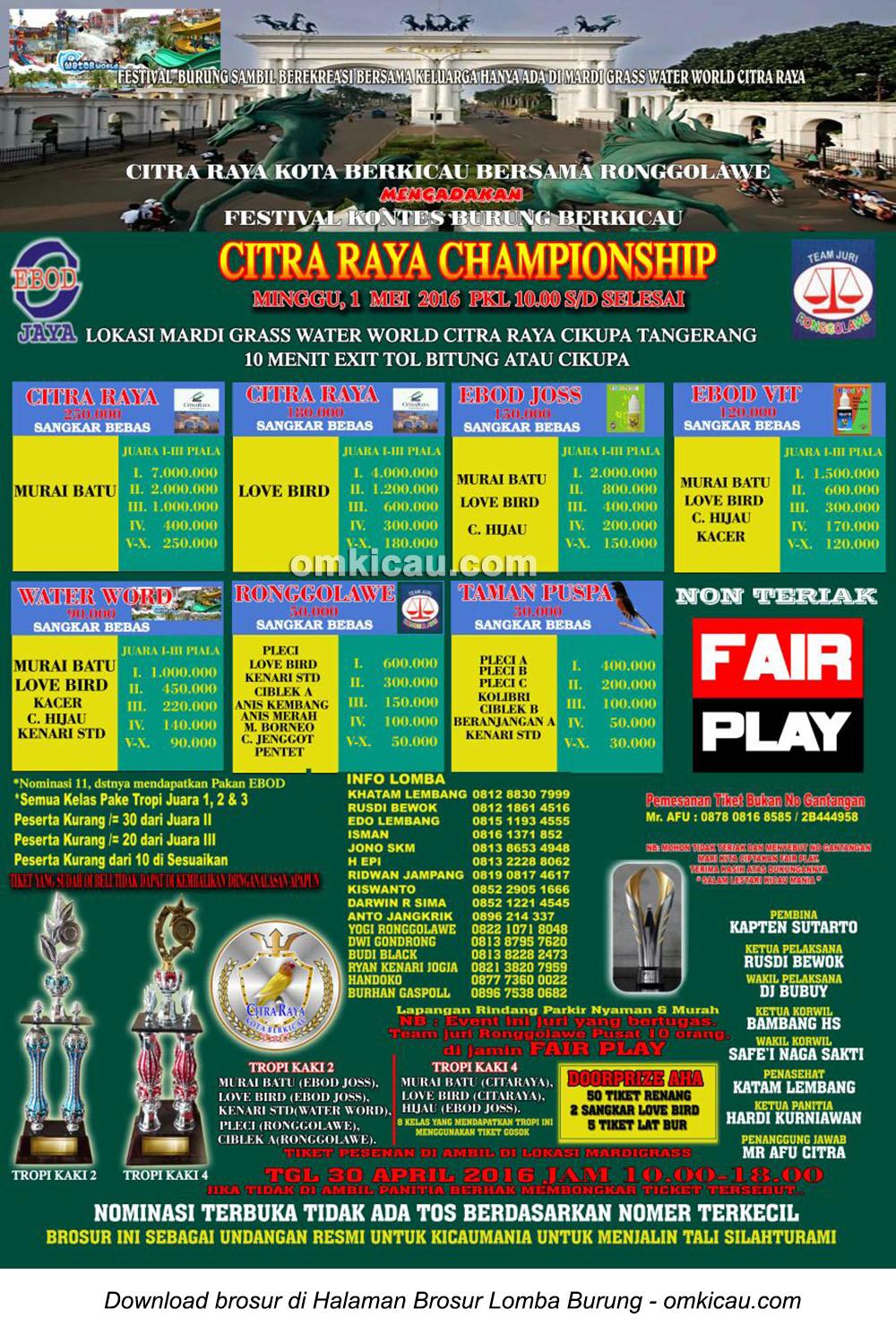 Brosur Lomba Burung Berkicau Citra Raya Championship, Tangerang, 1 Mei 2016
