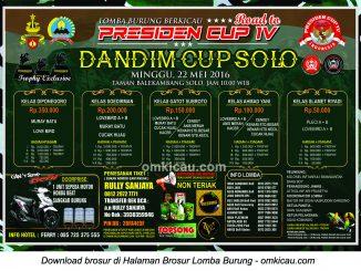 Brosur Lomba Burung Berkicau Dandim Cup Solo - Road to Presiden Cup IV, Solo, 22 Mei 2016