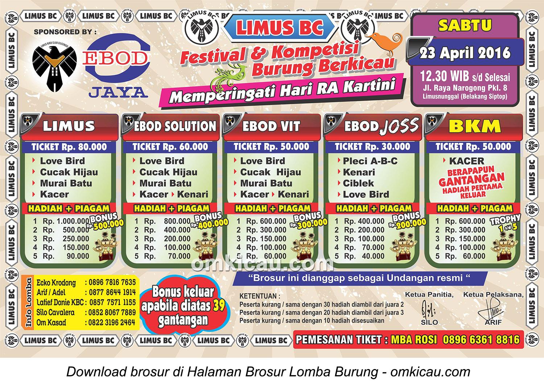 Brosur Lomba Burung Berkicau Hari Kartini - Limus BC, Bogor, 23 April 2016