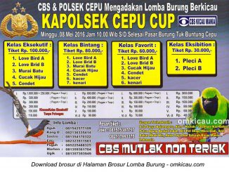 Brosur Lomba Burung Berkicau Kapolsek Cepu Cup, Blora, 8 Mei 2016