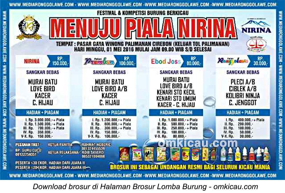 Brosur Lomba Burung Berkicau Menuju Piala Nirina, Cirebon, 1 Mei 2016