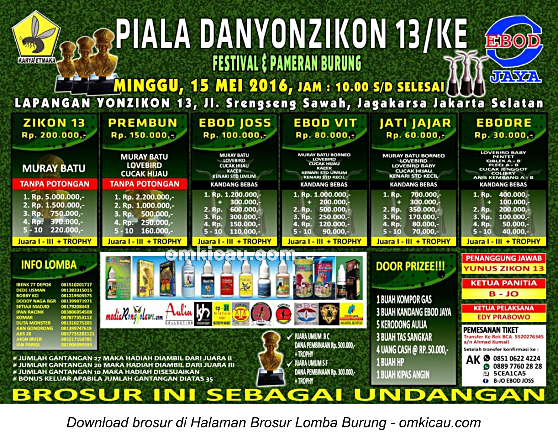 Brosur Lomba Burung Berkicau Piala Danyonzikon 13 KE, Jakarta Selatan 15 Mei 2016