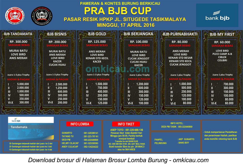Brosur Lomba Burung Berkicau Pra BJB Cup, Tasikmalaya, 17 April 2016