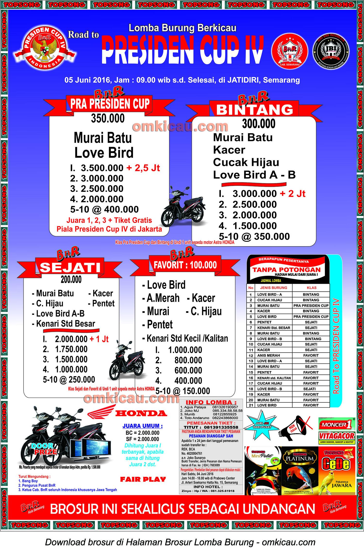 Brosur Lomba Burung Berkicau Road to Presiden Cup IV, Semarang, 5 Juni 2016