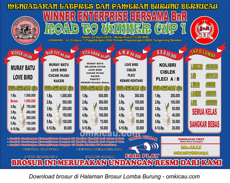 Brosur Lomba Burung Berkicau Road to Winner Cup 1, Tangerang Selatan, 23 April 2016