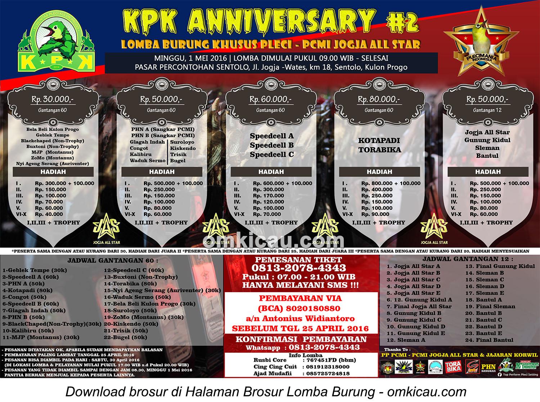 Brosur Lomba Burung Khusus Pleci KPK Anniversary #2, Kulonprogo, 1 Mei 2015