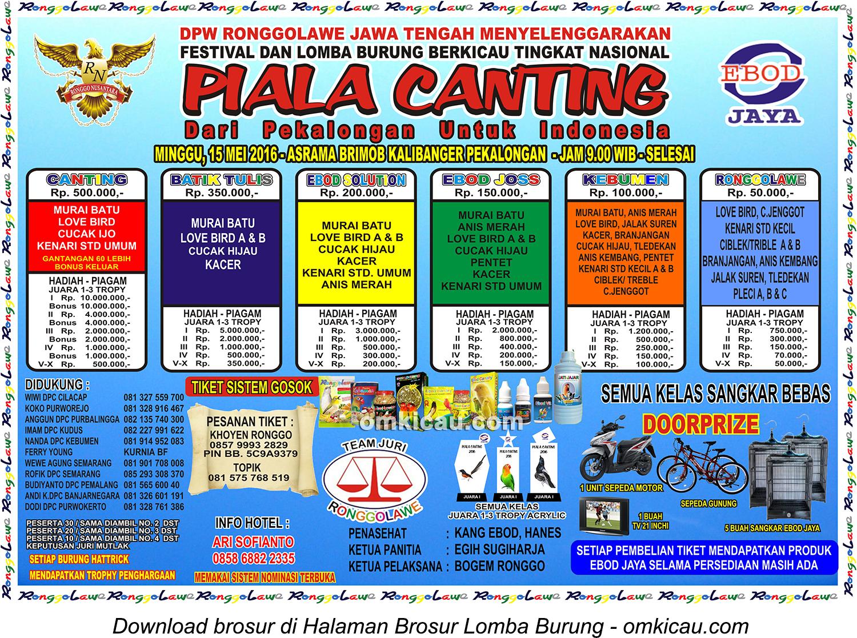 Brosur Revisi Lomba Burung Berkicau Piala Canting, Pekalongan, 15 Mei 2016