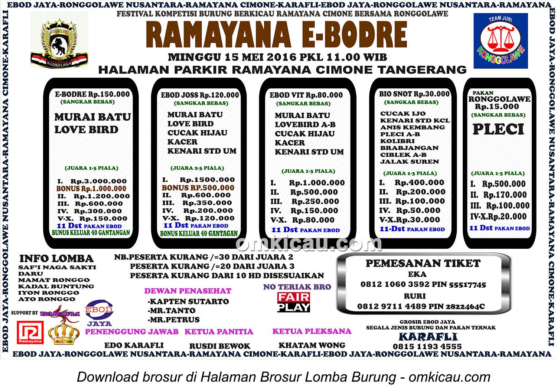 Brosur Festival Burung Berkicau Ramayana E-Bodre, Tangerang, 15 Mei 2016