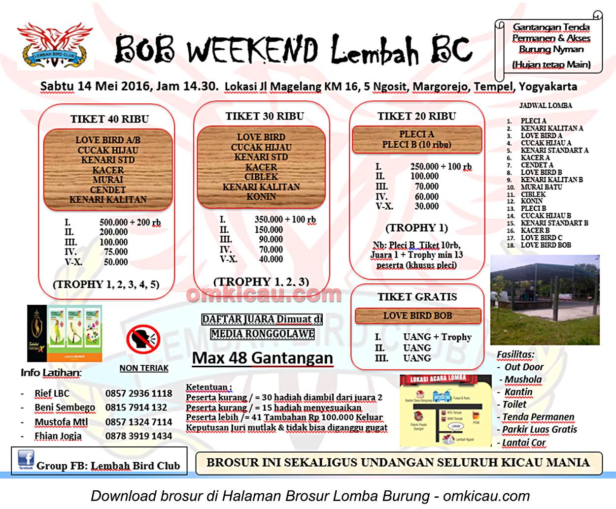 Brosur Latber BOB Weekend Lembah BC, Sleman, 14 Mei 2016
