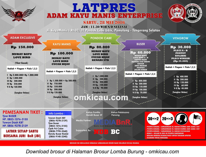 Brosur Latpres Burung Berkicau Adam Kayu Enterprise, Tangerang Selatan, 28 Mei 2016
